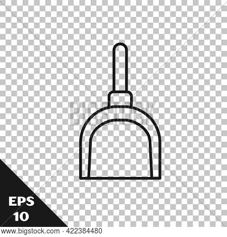 Black Line Dustpan Icon Isolated On Transparent Background. Cleaning Scoop Services. Vector