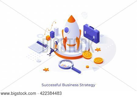 Conceptual Template With Businesswoman Working On Laptop Computer, Spacecraft, Calculator, Briefcase