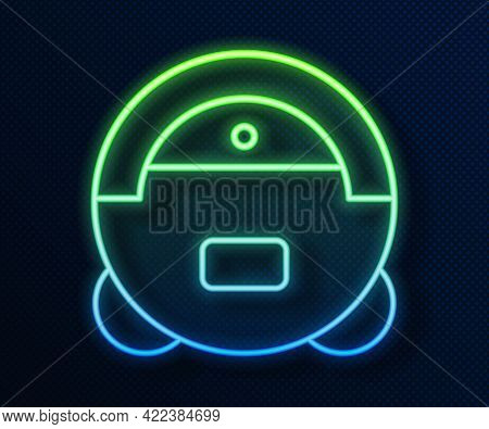 Glowing Neon Line Robot Vacuum Cleaner Icon Isolated On Blue Background. Home Smart Appliance For Au