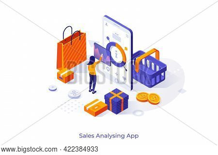 Conceptual Template With Woman Standing On Front Of Smartphone With Purchase Statistics On Screen. S