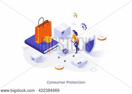 Concept Template With Woman Customer Or Buyer With Shopping Cart, Shield, Book. Scene For Legal Or G