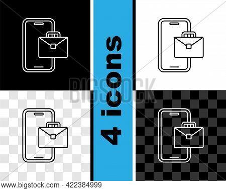 Set Line Freelancer Icon Isolated On Black And White, Transparent Background. Freelancer Man Working