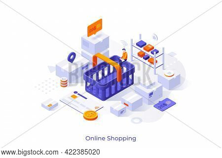 Conceptual Template With Customer Sitting On Shopping Basket And Making Order In Internet Store. Sce