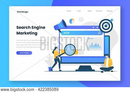 Search Engine Marketing Illustration Web Page