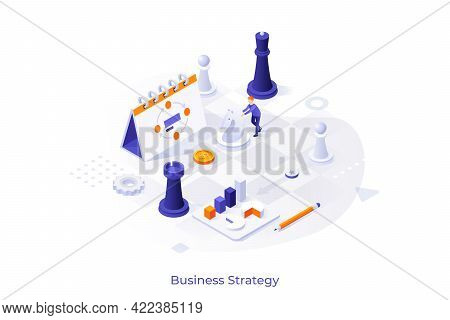 Conceptual Template With Man Playing Chess On Giant Board With Planner And Charts On It. Scene For E