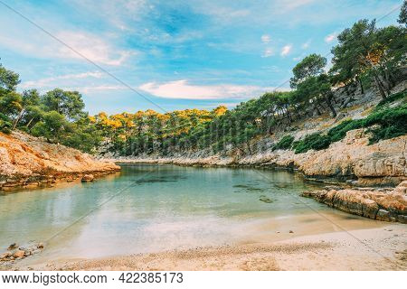 Cassis, Calanques, France. French Riviera. Beautiful Nature Of Cote De Azur On The Azure Coast Of Fr