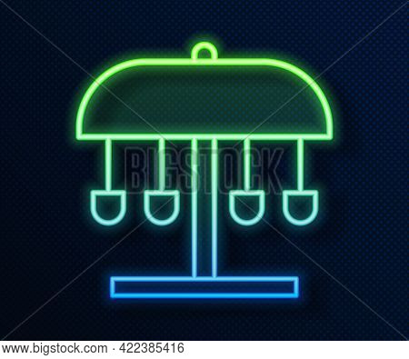 Glowing Neon Line Attraction Carousel Icon Isolated On Blue Background. Amusement Park. Childrens En