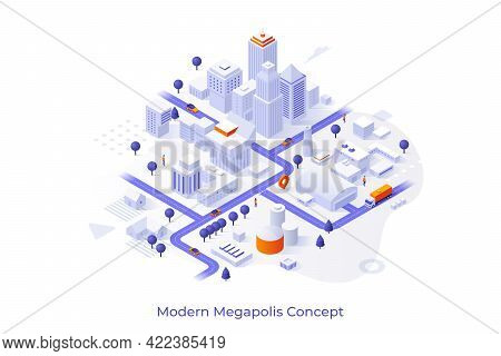 Conceptual Template With City Map With Urban And Suburban Areas, White Buildings Or Skyscrapers, Str