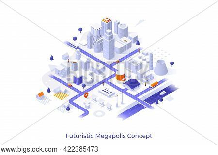 Conceptual Template With Metropolis City Map With Urban And Suburban Areas, White Buildings, Houses,