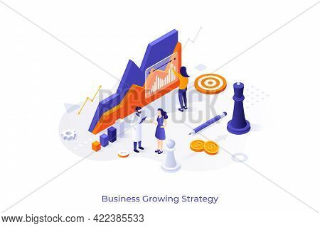 Conceptual Template With Ascending Chart, Working People, Chess Pieces. Scene For Business Growing S