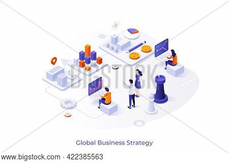 Conceptual Template With People Working On Laptop Computers, Diagrams, Chess Pieces. Scene For Globa