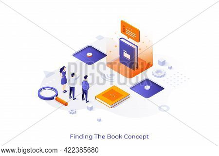 Conceptual Template With People, Giant Book, Magnifying Glass. Scene For Online Service For Finding