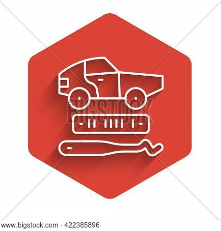 White Line Car Theft Icon Isolated With Long Shadow. Red Hexagon Button. Vector