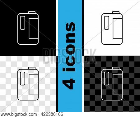 Set Line Plastic Bottle With Handle For Milk Icon Isolated On Black And White, Transparent Backgroun