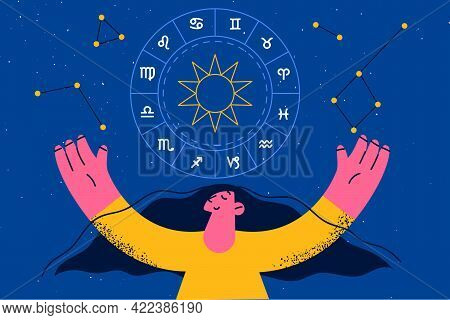 Spirituality And Astrology Symbols Concept. Smiling Woman Cartoon Character Raising Hands Looking At