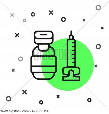 Black Line Medical Syringe With Needle Icon Isolated On White Background. Vaccination, Injection, Va