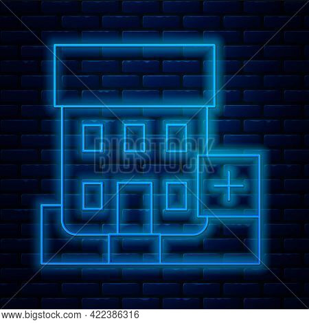 Glowing Neon Line Medical Hospital Building With Cross Icon Isolated On Brick Wall Background. Medic