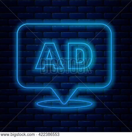 Glowing Neon Line Advertising Icon Isolated On Brick Wall Background. Concept Of Marketing And Promo