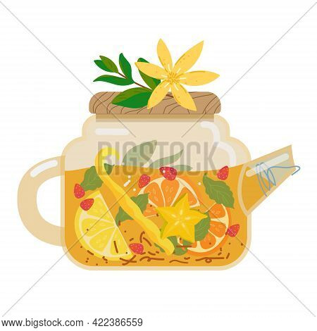 Glass Teapot With Fruit Tea. Herbal Tea, Healthy Summer Beverage Cold Or Hot. Drink With Slices Of O
