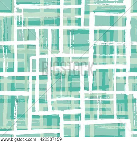 Abstract Painted Bauhaus Style Layout Vector Seamless Pattern Background. Duotone Blue White Grid Ba