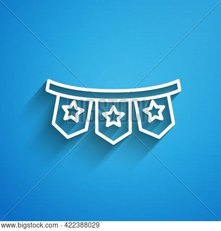 White Line Carnival Garland With Flags Icon Isolated On Blue Background. Party Pennants For Birthday