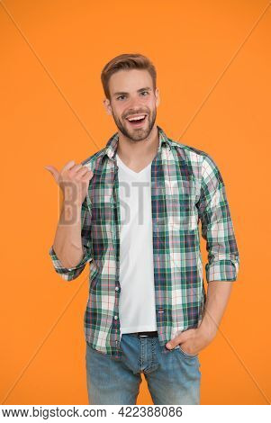 Did You Hear That. Cheerful Speaker. Menswear And Fashionable Clothing. Man Handsome In Casual Style
