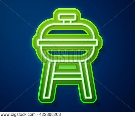 Glowing Neon Line Barbecue Grill Icon Isolated On Blue Background. Bbq Grill Party. Vector