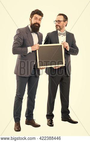 Welcome On Board. Bearded Men Hold Advertisement Blackboard. Partners Celebrate Start Up Business Is