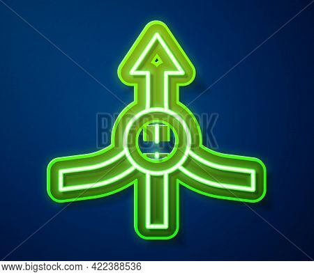 Glowing Neon Line Arrow Icon Isolated On Blue Background. Direction Arrowhead Symbol. Navigation Poi