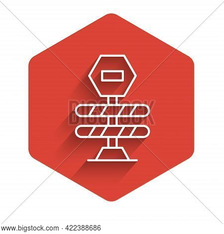 White Line Road Barrier Icon Isolated With Long Shadow Background. Symbol Of Restricted Area Which A