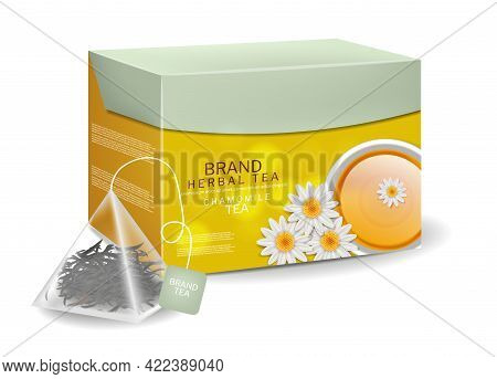 Chamomile Tea Pack In Triangle Bags Infusion. Organic Herbs Vector Realistic Drink. 3d Detailed Illu