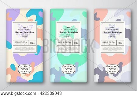 Chocolate Labels Set. Abstract Vector Packaging Design Layouts Collection. Modern Typography, Hand D