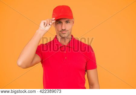 Keep It Casual. Serious Man Wear Red Cap Yellow Background. Handsome Guy In Casual Style. Casual Fas