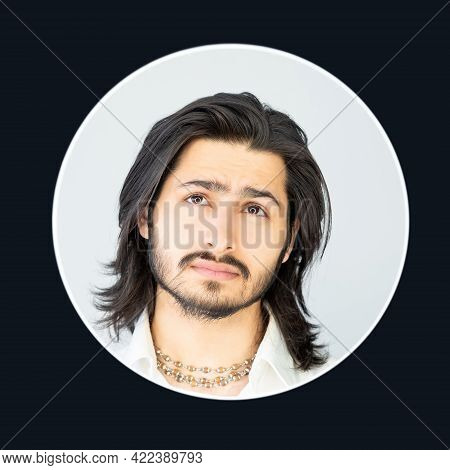 Puzzled Man. Hesitating Thoughts. Doubtful Face Portrait. Guess Idea. Brunette Bearded Guy Long Hair