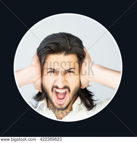 Loud Noise. Screaming Male Portrait. Overwhelming Madness. Anger Quarrel. Destructive Relationship.