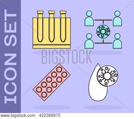 Set Blood Test And Virus, Blood Test And Virus, Pills In Blister Pack And Virus Spread Icon. Vector