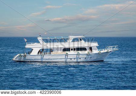 Yacht On The High Seas. Pleasure, Excursion Yacht In The Red Sea Not Far From The Resort Of Sharm El