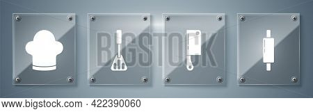 Set Rolling Pin, Meat Chopper, Spatula And Chef Hat. Square Glass Panels. Vector