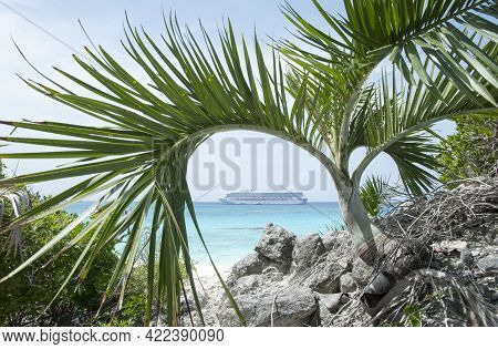 The Framed View Through The Palm Three Of Caribbean Sea And A Cruise Ship (half Moon Cay, Bahamas).
