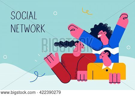 Social Network And Business Concept. Young Positive Women Workers Cartoon Characters Feeling Great W