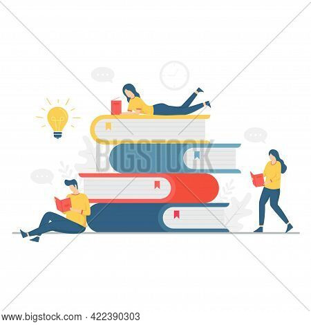 Illustration Of People Reading A Book