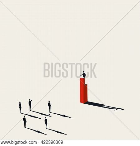 Business Leadership Vector Concept. Symbol Of Leader Speaking To People. Political Authority. Minima