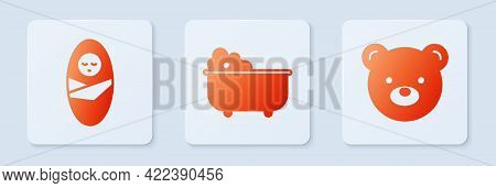 Set Baby Bathtub, Newborn Baby Infant Swaddled And Teddy Bear Plush Toy. White Square Button. Vector