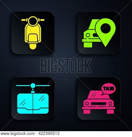 Set Taxi Car, Scooter, Cable Car And Map Pointer With Taxi. Black Square Button. Vector
