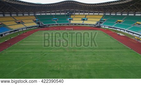 Aerial Top Down View Of The Beautiful Scenery Of Patriot Stadium. Bekasi, Indonesia, June 1, 2021
