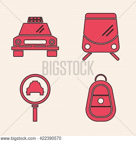 Set Car Key With Remote, Taxi Car, Tram And Railway And Magnifying Glass And Taxi Car Icon. Vector