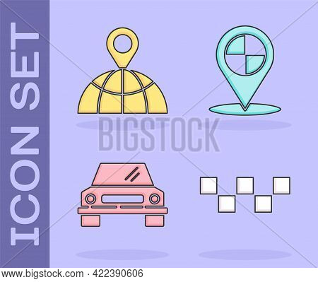 Set Taxi Car Roof, Location On The Globe, Car And Map Pointer With Taxi Icon. Vector
