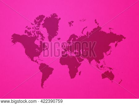 World Map Isolated On Pink Wall Background