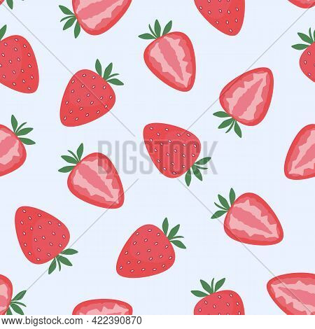 Strawberry, Whole And Cut Berries. Seamless Pattern. Flat Vector Illustration. Texture For Print, Fa