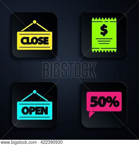 Set Fifty Discount Percent Tag, Hanging Sign With Closed, Hanging Sign With Open And Paper Check And